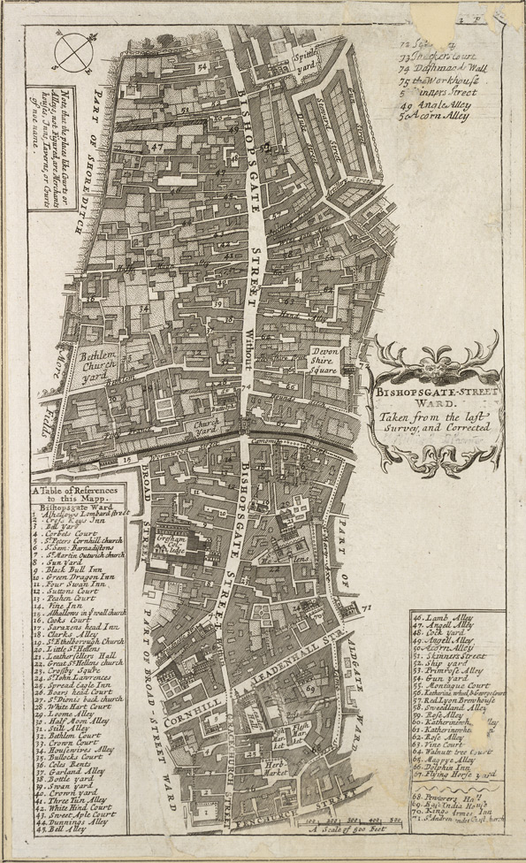 Bishopsgate-street ward. Taken from the last survey and corrected (1720)